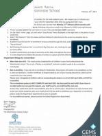 Circular Regarding Re-Enrolment for the Academic Year 2014-2015