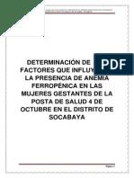DETERMINACIÓN DE  LOS FACTORES QUE INFLUYEN EN LA PRESENCIA DE ANEMIA FERROPÉNICA EN LAS MUJERES GESTANTES DE LA POSTA DE SALUD 4 DE OCTUBRE EN EL DISTRITO DE SOCABAYA
