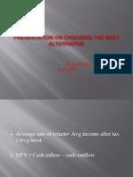 Presentation on Choosing the Best Alternative
