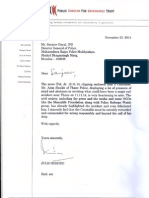 Letter From JF Ribeiro
