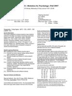 UT Dallas Syllabus for psy2317.001.07f taught by Nancy Juhn (njuhn)