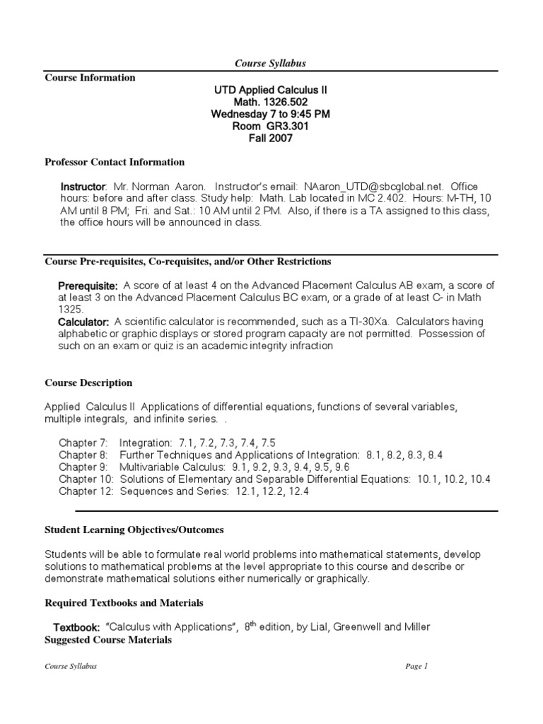 UT Dallas Syllabus for math1326 502 07f taught by Norman Aaron