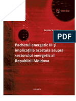 Pachetul Energetic III Si Implicatiile Acestuia Asupra Sectorului Energetic Al Republicii Moldova