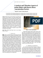 Finite Element Analysis and Vibration Aspects of  Rotating Turbine Blade with Known Stress  Concentration Factors