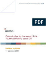 Case studies for the award of the 700MHz/800MHz band