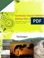 Sambutan Deputi MENLH Bidang Tata Lingkungan