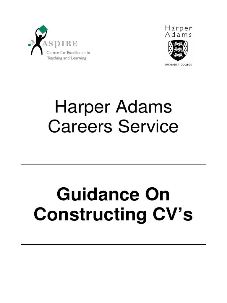 Harper Adams Careers Service: Guidance On Constructing CV's