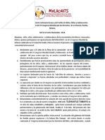 Comunicado MOLACNATs VI Congreso Mudnial Infancia Adolescencia Puebla