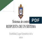 Respuesta de Un Sistema Estabilidad y Lgr