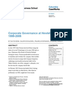 HP Corporate Governance 1999-2005   Hewlett Packard   Board