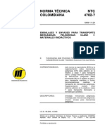 NTC 4702-7 Embalajes y Envases Transporte Mercancías Peligrosas Clase 7.pdf