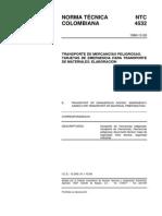 NTC 4532 Transporte de Mercancías Peligrosas. Tarjetas de Emergencia.pdf