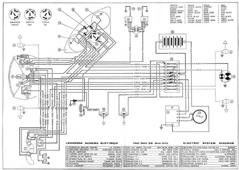 Ducati 1976 750-900SS Wiring Diagram