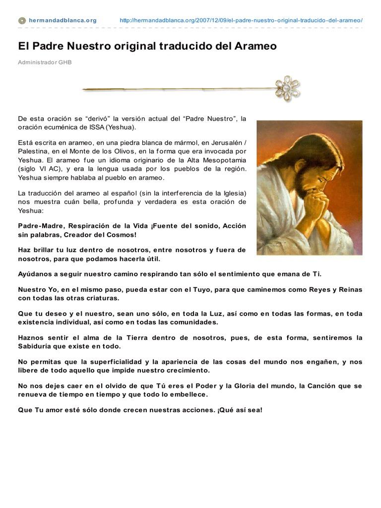 El Padre Nuestro Original Traducido Del Arameo Orador Del Señor Religión Y Creencia