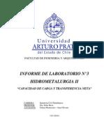 LABORATORIO EXTRACCIÓN POR SOLVENTES CAPACIDAD DE CARGA Y TRANSFERENCIA NETA