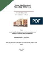 Monografía los valores en la enseñanza del ingles