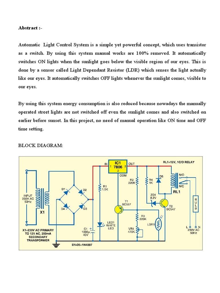 Outstanding Schematics Diagrams Automatic Lamp Dark Detector Ac 230v ...