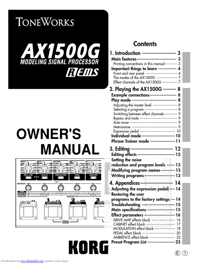 Toneworks Ax1500g Owners Manual | Sound Production Technology | Audio  Engineering