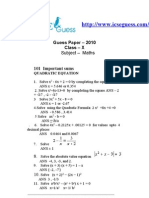 Imp Sums Icse x --Quadratic Equations