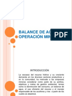 Balance de Agua en Una Operación Minera Subterránea