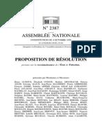 Proposition de résolution portant sur la reconnaissance de l'État de Palestine