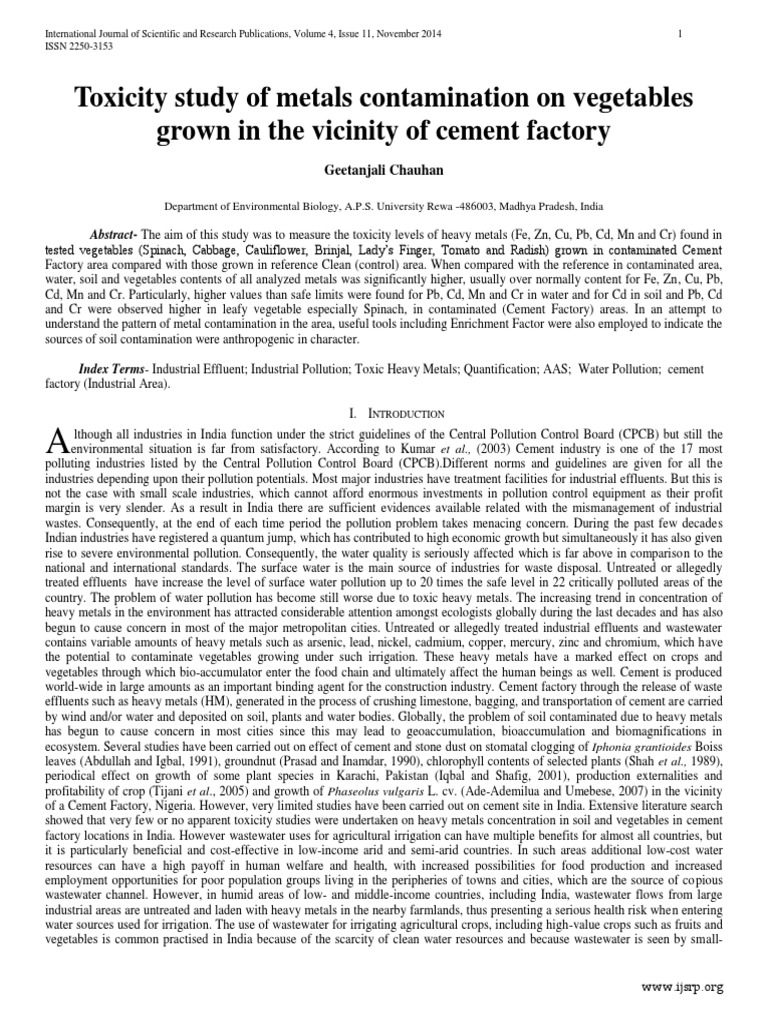Toxicity study of metals contamination on vegetables grown in the