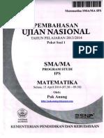 Pembahasan Soal UN Matematika Program IPS SMA 2014 Paket 1 (Full Version)