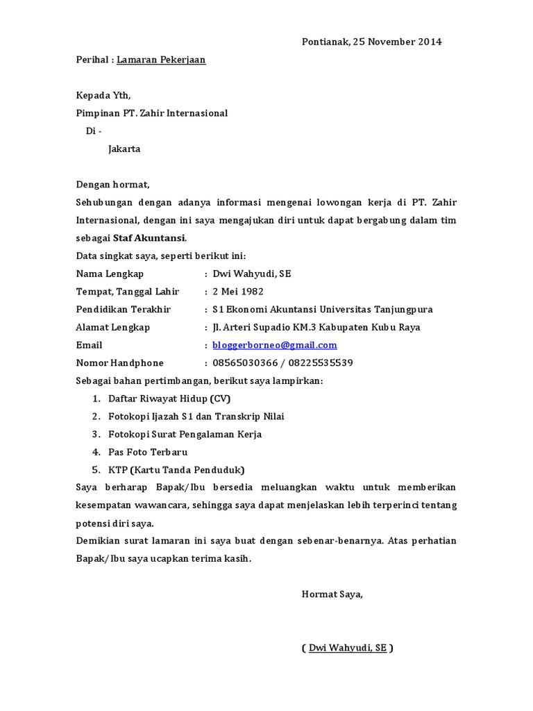 Contoh Surat Lamaran Pekerjaan Terbaru