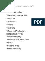 Lista de Alimentos Para Doação