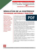 RÉSOLUTION DE LA CONFÉRENCE  TECHNIQUE NATIONALE TRACTION ORGANISATION DU SYSTEME FERROVIAIRE