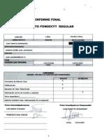"Informe final ""Proyecto FONDECYT Regular"""