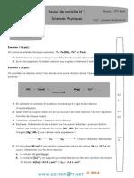 Devoir+de+Contrôle+N°1++-Sciences+physiques++-3èmeMath+(2013-2014)Mr+ZAOUAM+ABDELHAMID