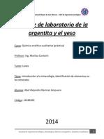 Informe mineralógico de la argentita y el yeso