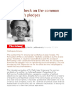 A Reality Check on the Common Candidate's Pledges