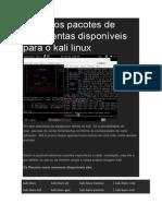 Os Vários Pacotes de Ferramentas Disponíveis Para o Kali Linux