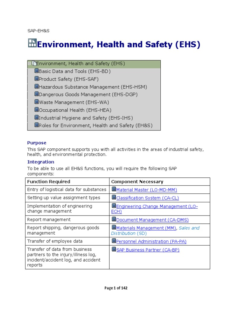SAP EH&S - Environment Health and Safety- Study Guide | Specification  (Technical Standard) | Dangerous Goods