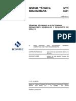 NTC 4591 Técnicas de Ensayo a Alta Tensión. Definiciones Generales y Requisitos de Ensayo