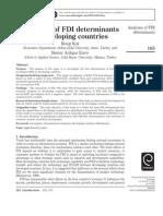 Analysis of Fdi Determinants