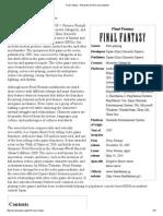 Final Fantasy - Wikipedia, The Free Encyclopedia