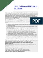 PTKP Tahun 2013 Perhitungan PPh Pasal 21 Dan PPh Orang Pribadi