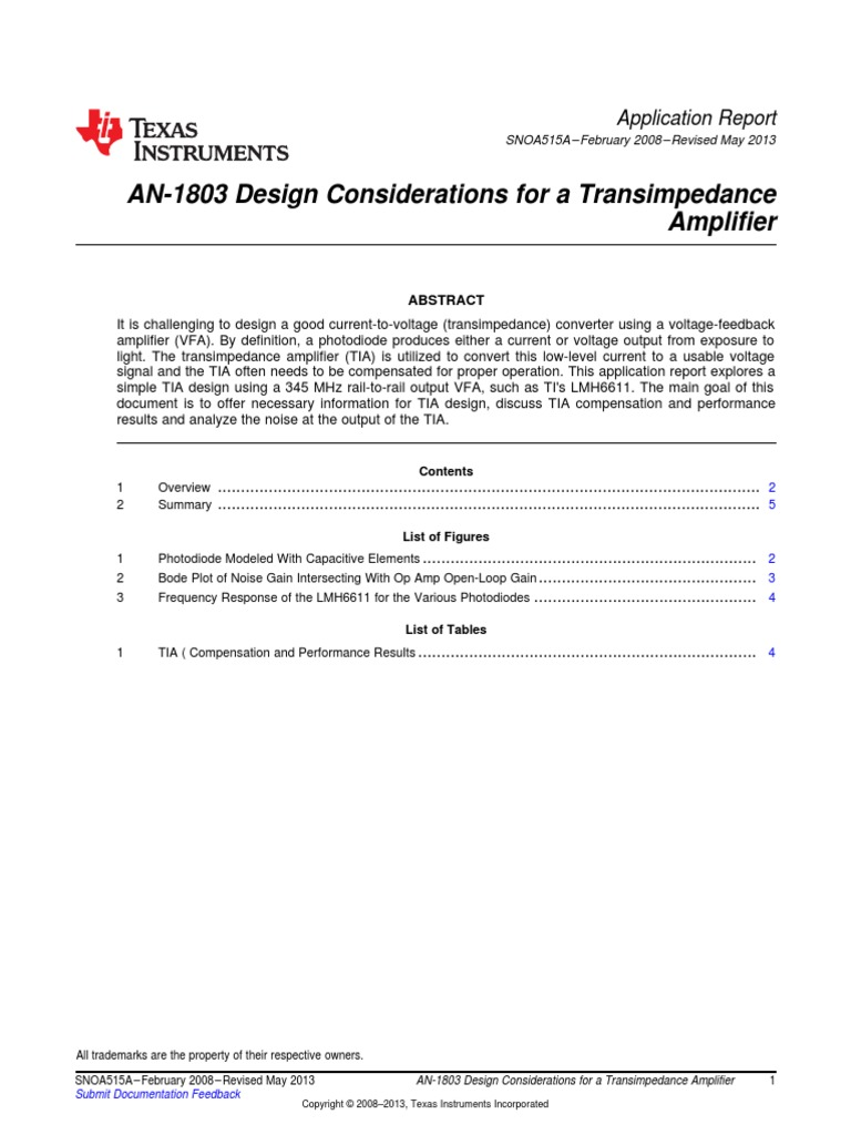 Design Considtn Photodiode Amplifier Operational Figure 3 Transimpedance Circuit Converting A Current Into