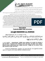 ALLÂH ORDONNE LA JUSTICE