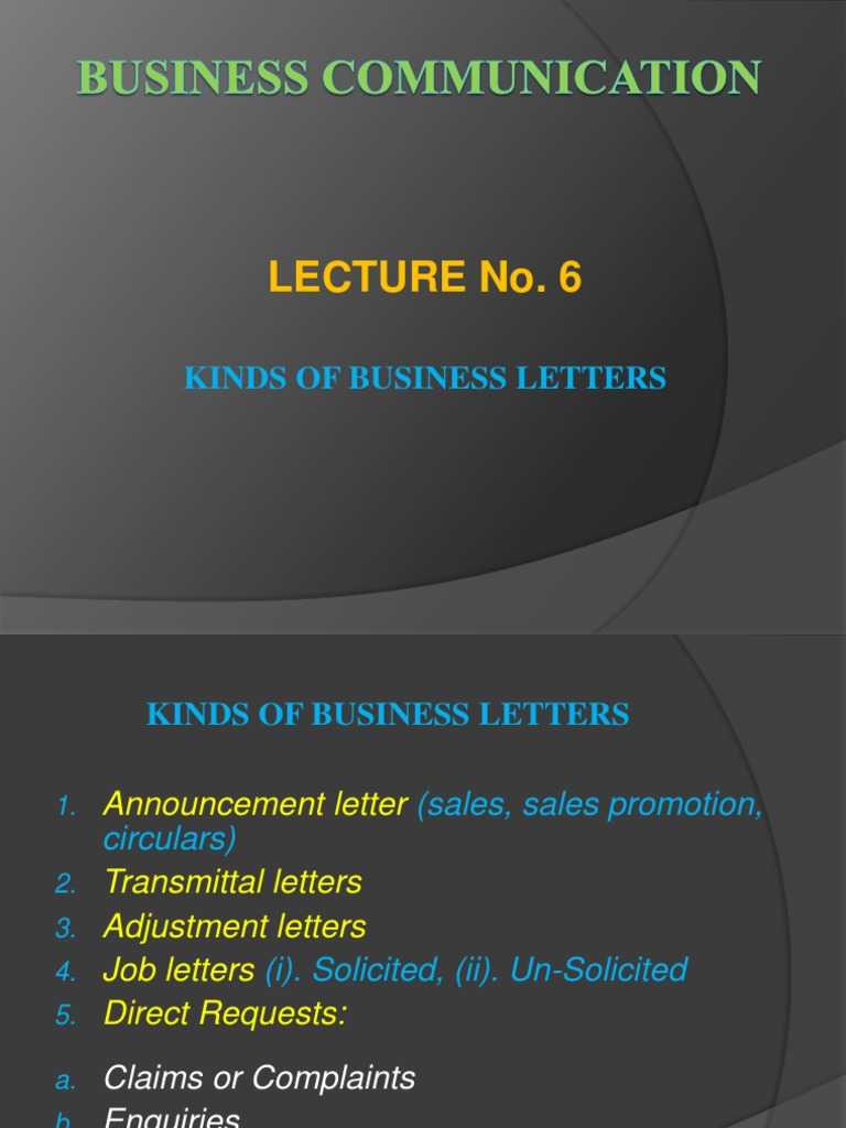 6 Kinds Of Letters Pptx Invoice Sales