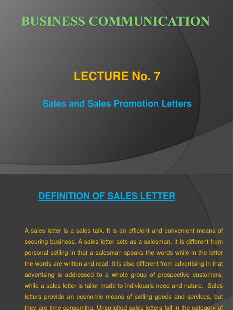 8 Sales And Sales Promotion Letters Pptx Sales Advertising