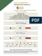 Dar Saada Note d'Information Concernant l'Introduction en Bourse
