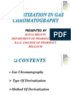 Derivatization in GC | Gas Chromatography | Chromatography