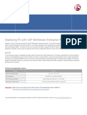 Deploying F5 with SAP NetWeaver Enterprise Portal   Transport Layer