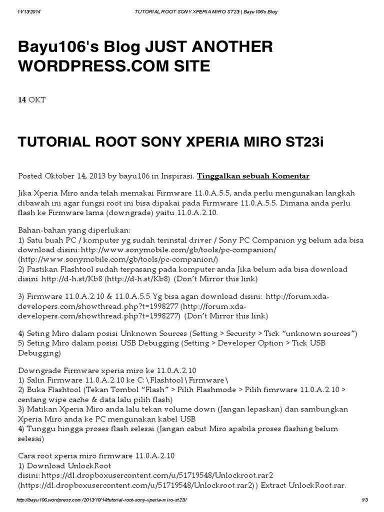 Sony st23i root