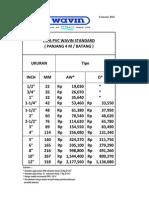 Pricelist Pipa Wavin Standar Per. Januari 2014