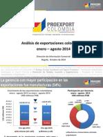 2014-10-03 Analisis de Exportaciones Colombianas Ene-Ago 2013-2014